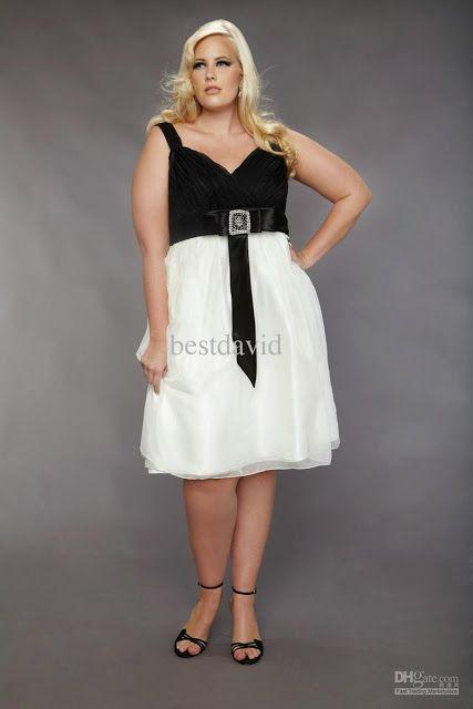 Vestido blanco y negro para gorditas