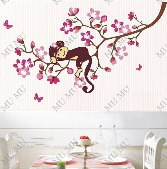 Monkey U0026 Flower Tree Removable Wall Sticker Decal Kids Room Nursery Wall  Decor Decoration JM8091 Part 64