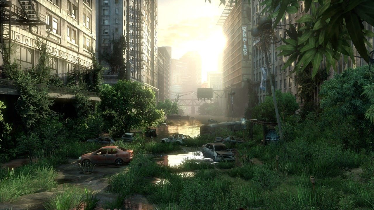 Overgrown Cityscape Post Apocalyptic City The Last Of Us Scenery