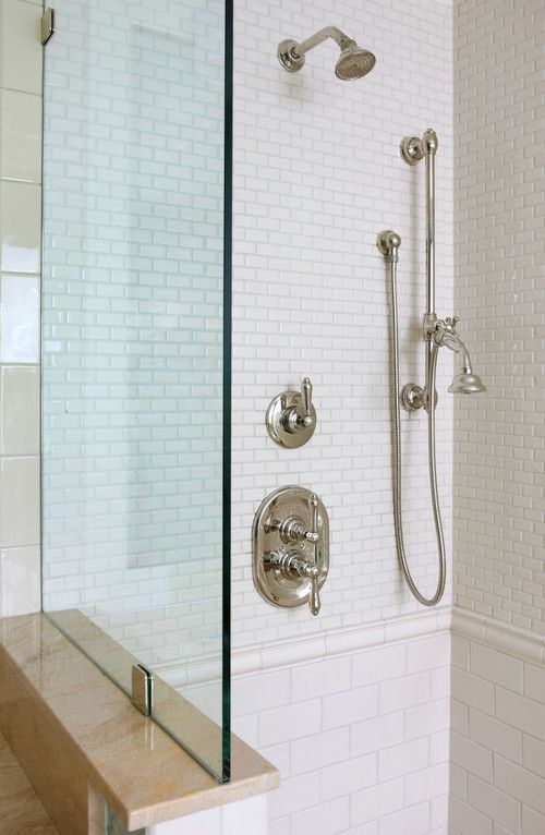White Subway Tile Large Scale Below Small Scale Above Gives Visual Interest But Same Color Ke Tile Bathroom White Subway Tile Bathroom White Bathroom Tiles