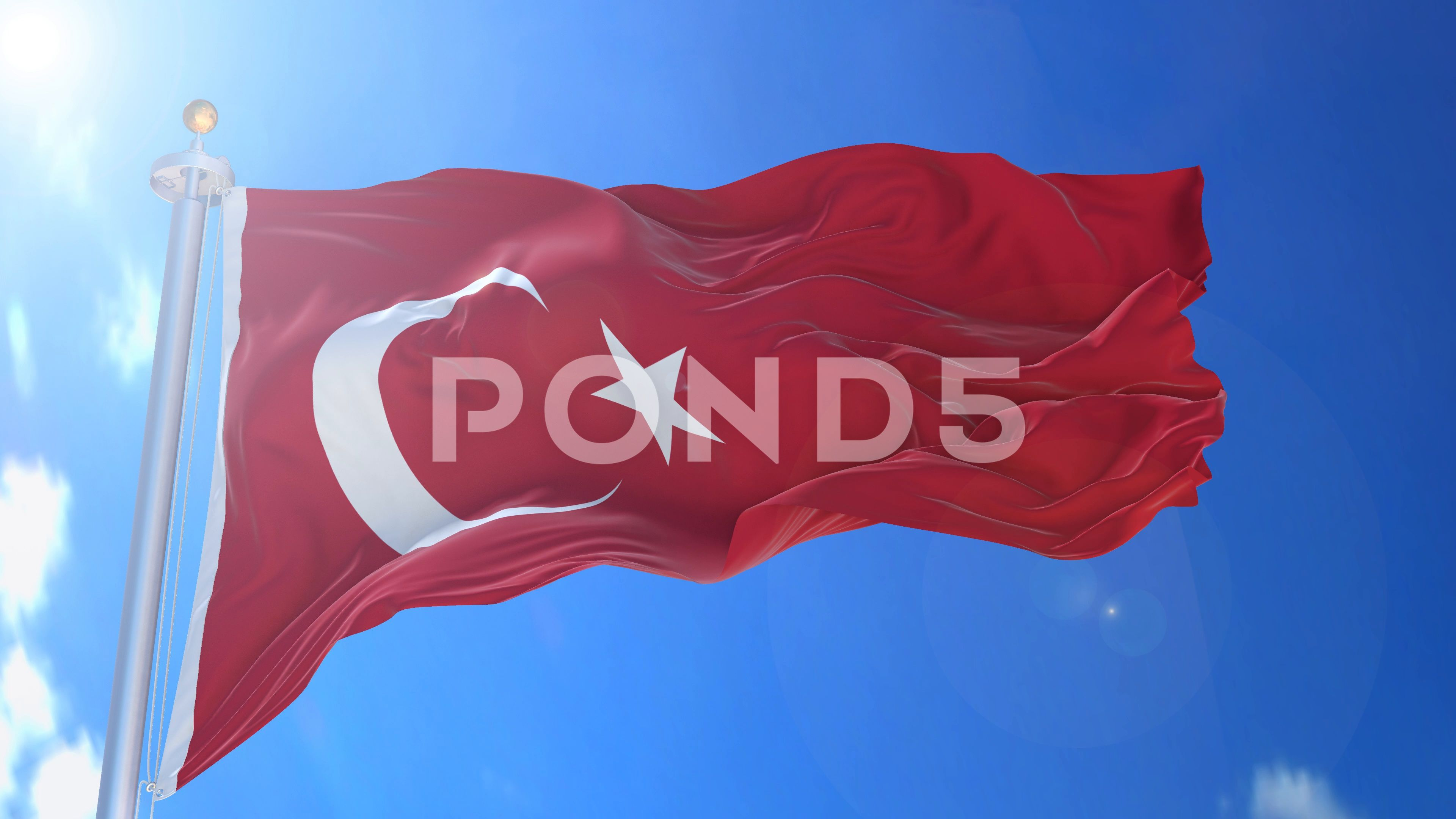 Turkey animated flag pack in 3D and green screen Stock