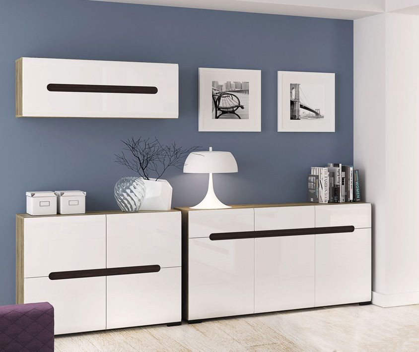 High Gloss White Living Room Furniture Set Wall Unit 3 Items