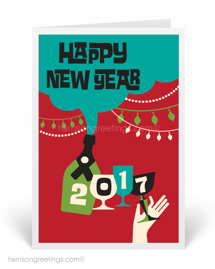 2017 happy new year greeting cards mid century modern retro new years greetings
