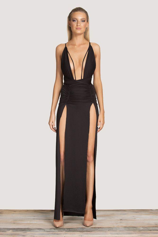 373b9d46b0 Deep V Neck Sexy Two Side High Slit Maxi Long Dress