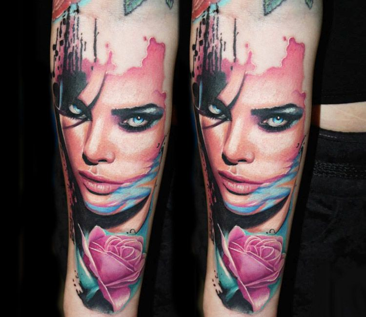 Girl face tattoo by dave paulo tattoos for women
