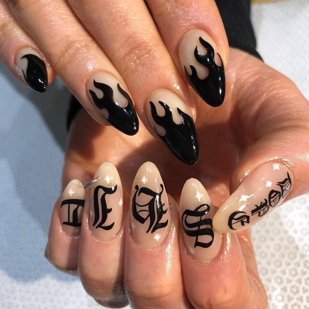 Awesome 35 Fire Nail Art Design Ideas You Must Try Https Idolover Com 2019 05 13 35 Fire Nail Art Design Ideas You Mus Fire Nails Grunge Nails Gorgeous Nails