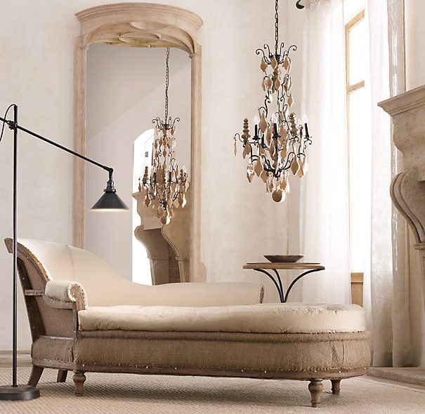 Chaise Lounge Chair Teardrop Chandelier Elegant Home
