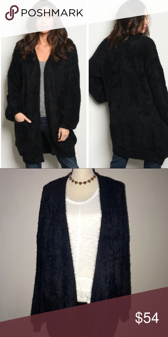 d3f4eb7cd4 Fuzzy Open Cardigan in Black -Super soft and cozy -Elastic cuffed sleeves  -75