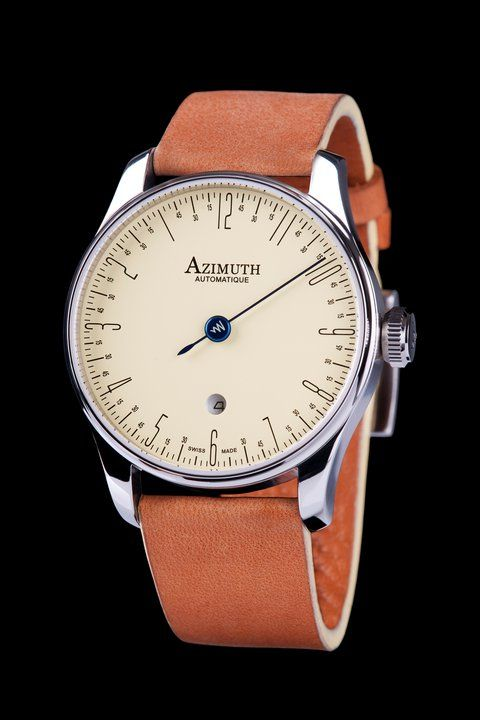 azimuth's back in time single hand watch