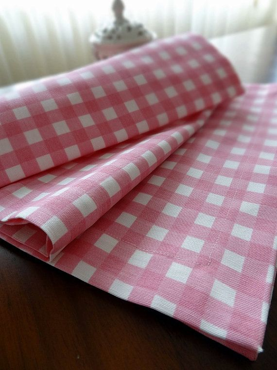 Cotton Table Runner Pink Gingham Tablecloth By ShoppingFest, $15.00