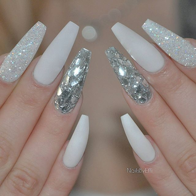 Makeuphall Nails Design With Rhinestones White And Silver Nails Rhinestone Nails