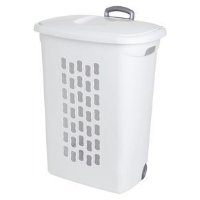 Sterilite® Lidded Hamper with Wheels - White