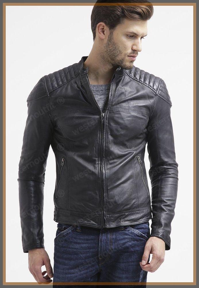 MR R Mens Faux-leather Slim Fit Motorcycle Jacket Black