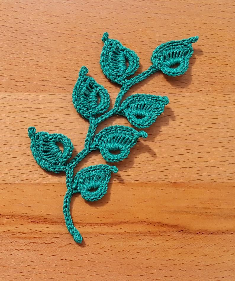 Irish Crochet Leaf Pattern, Irish Crochet Applique Pattern. Lace Motifs, Crochet Embellishment, Crochet Home Decor, Crochet leaf Pattern