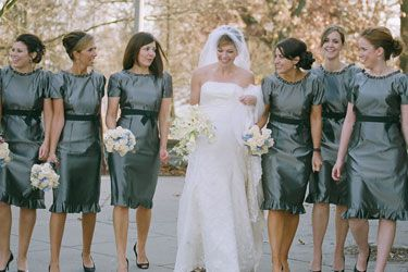 42a28ea79a pewter bridesmaids. I love the color of these dresses!