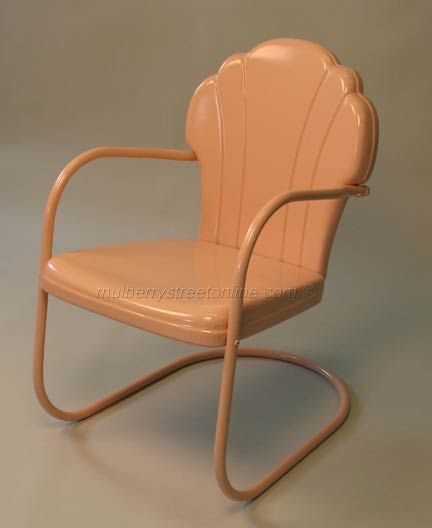 Amy takes old vintage metal furniture and reconditions it to look like new.  Imagine how Amy's vintage lawn furniture would look on your porch. - Vintage Metal Furniture Porch Chairs, Leftover Fabric And Monopoly