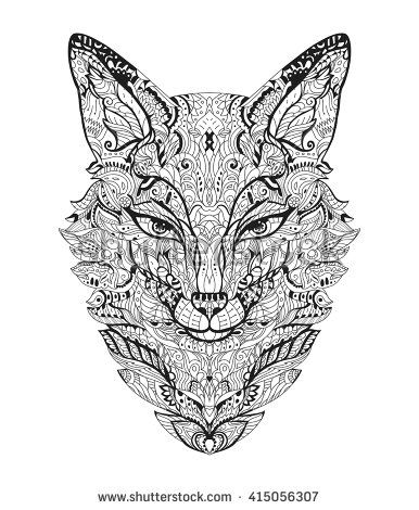 zentangle fox head for the adult antistress coloring book on white background