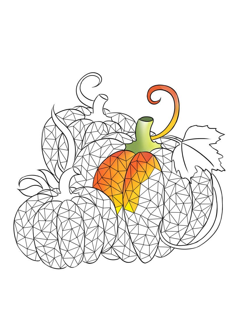 Adult coloring page, pumpkin coloring page, fall coloring for adult ...