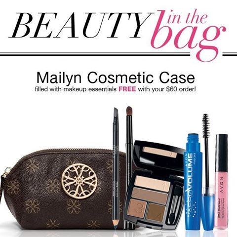 Weekend Deal Alert! When you spend $60 you'll get a FREE Mailyn Cosmetic Case filled with Ultra Glazewear Lip Gloss in Palm Beach Pink, True Color Eyeshadow Quad in Mocha Latte, AeroVolume Mascara in black, Kohl Eye Liner in True black, and Avon Pro Eye Shadow Brush! www.youravon.com/mschriner  While supplies last, direct delivery only contact me if you have any questions!!!
