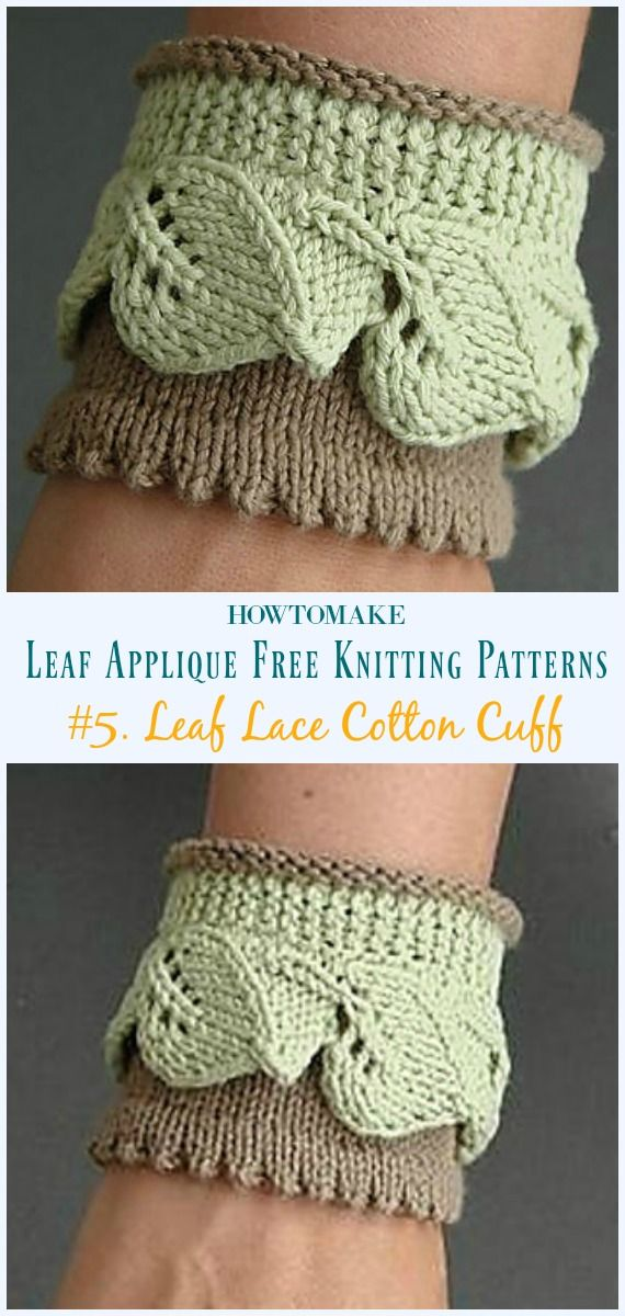 Leaf Applique Free Knitting Patterns Knitting Pinterest
