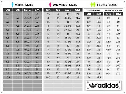 adidas originals size chart