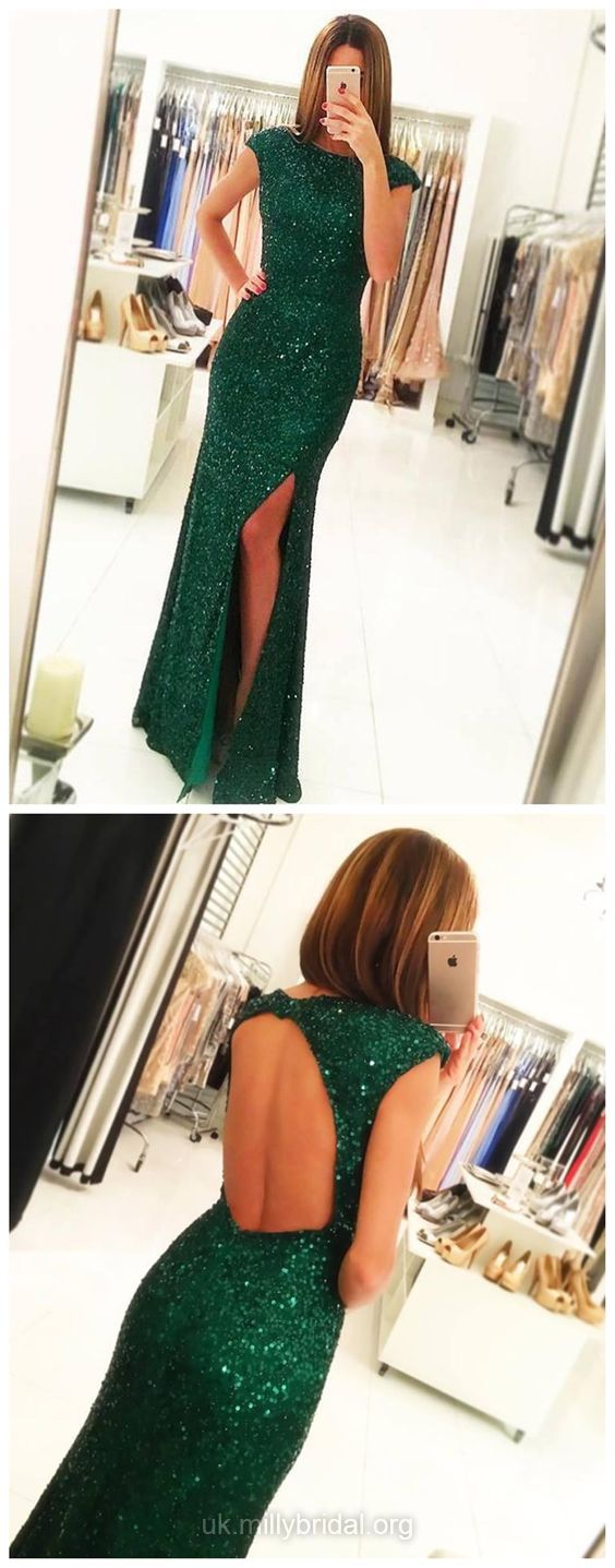 Green prom dresses long party dresses sequined sexy formal
