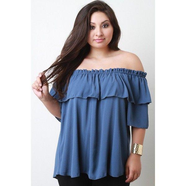 Ruffle Off The Shoulder Top ($38) via Polyvore featuring tops, blouses, plus size blouses, women's plus size tops, plus size ruffle blouse, plus size tops and off the shoulder ruffle blouse
