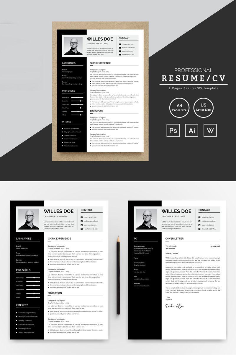 Willes Doe Designer & Developer Resume Template 74255