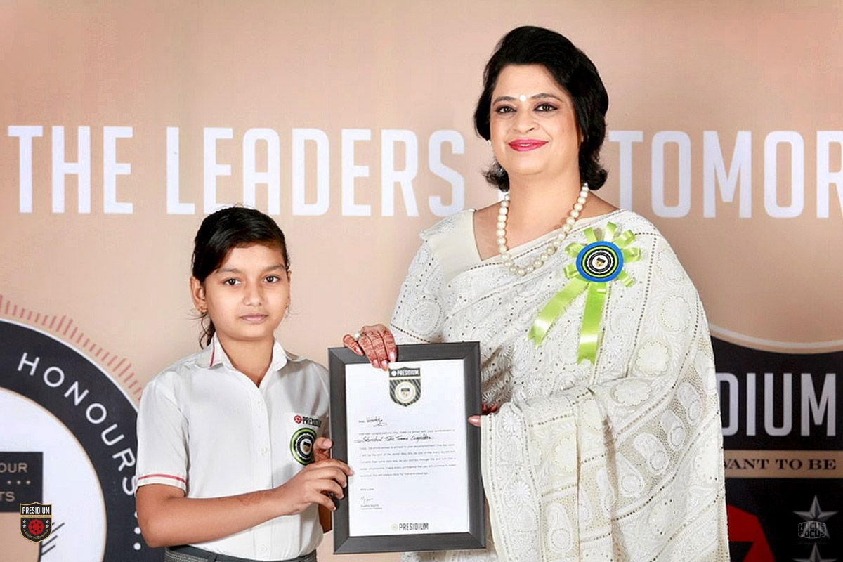 Presidium, hosted a grand ceremony, THE CHAIRPERSON HONOURS (October 2016 Meet), with a lot of excitement and enthusiasm. At the meet, Mrs. Sudha Gupta, the honorable Chairperson of Presidium, congratulated more than 230 Presidians for their extraordinary achievements in academics, sports and co-curricular activities.