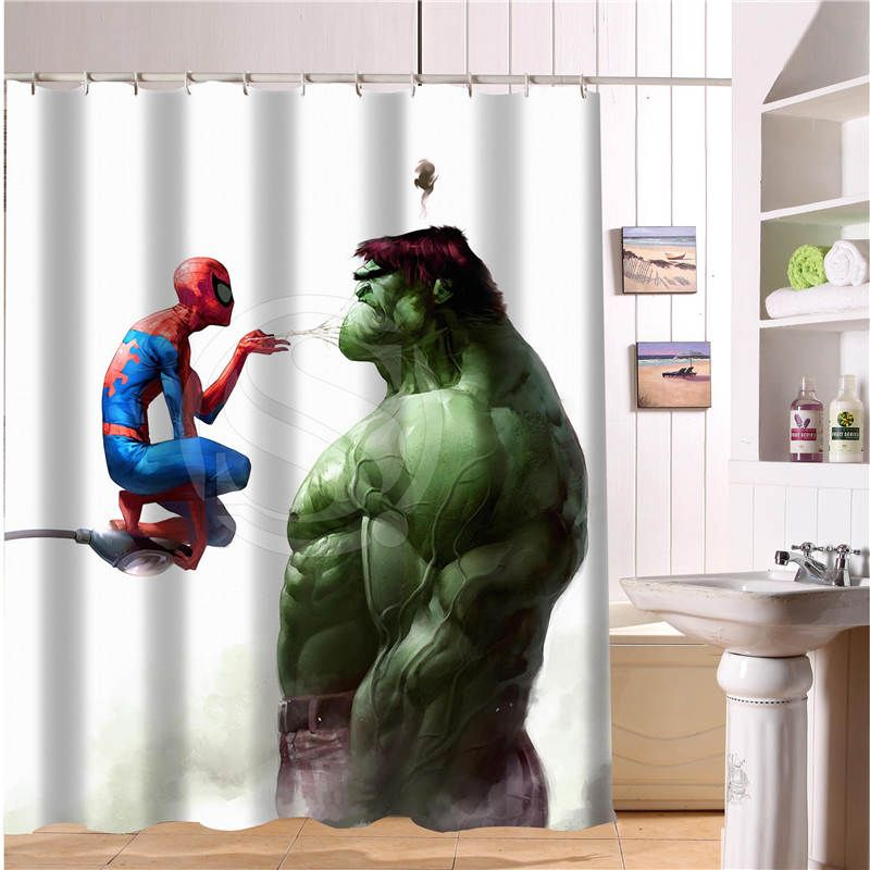 Custom The Avengers Marvel Hero Shower Curtain New Large European And American Big Ideas Print Edition Polyester Bath Curtain Superhero Bathroom Shower Curtain Modern Shower Curtains