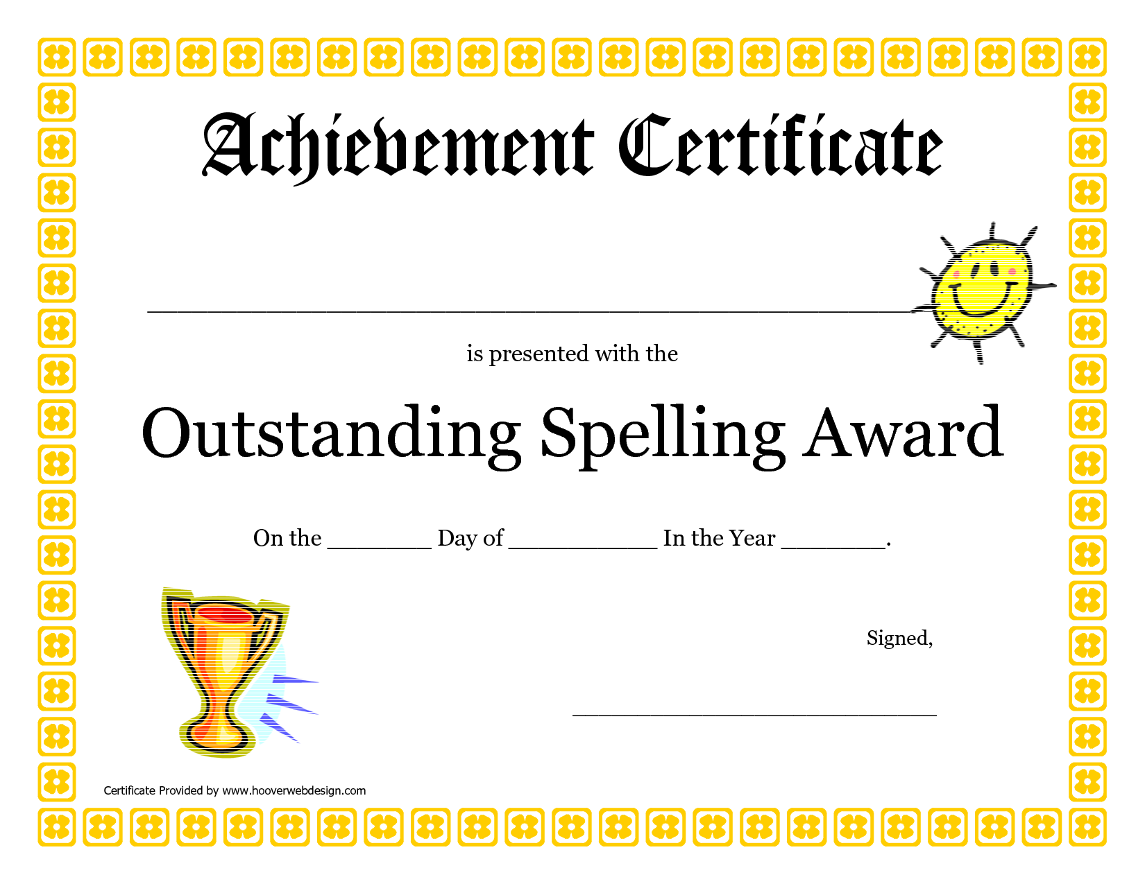 Outstanding Spelling Award Printable Certificate Pdf Picture  Free Customizable Printable Certificates Of Achievement
