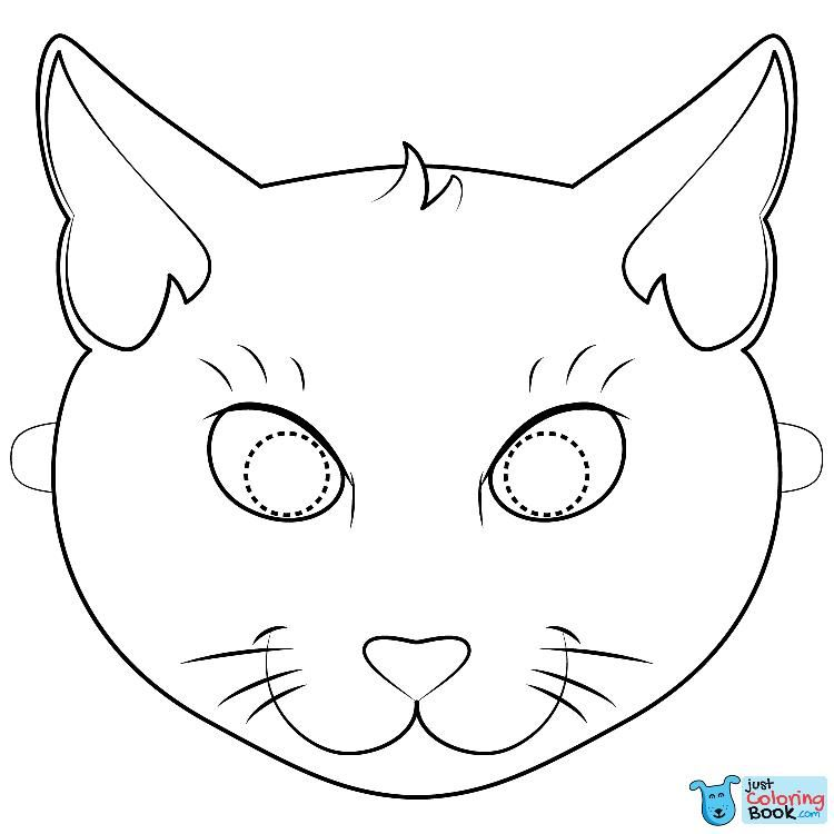 Black Cat Mask Coloring Page Kitty Coloring Cat Coloring Page