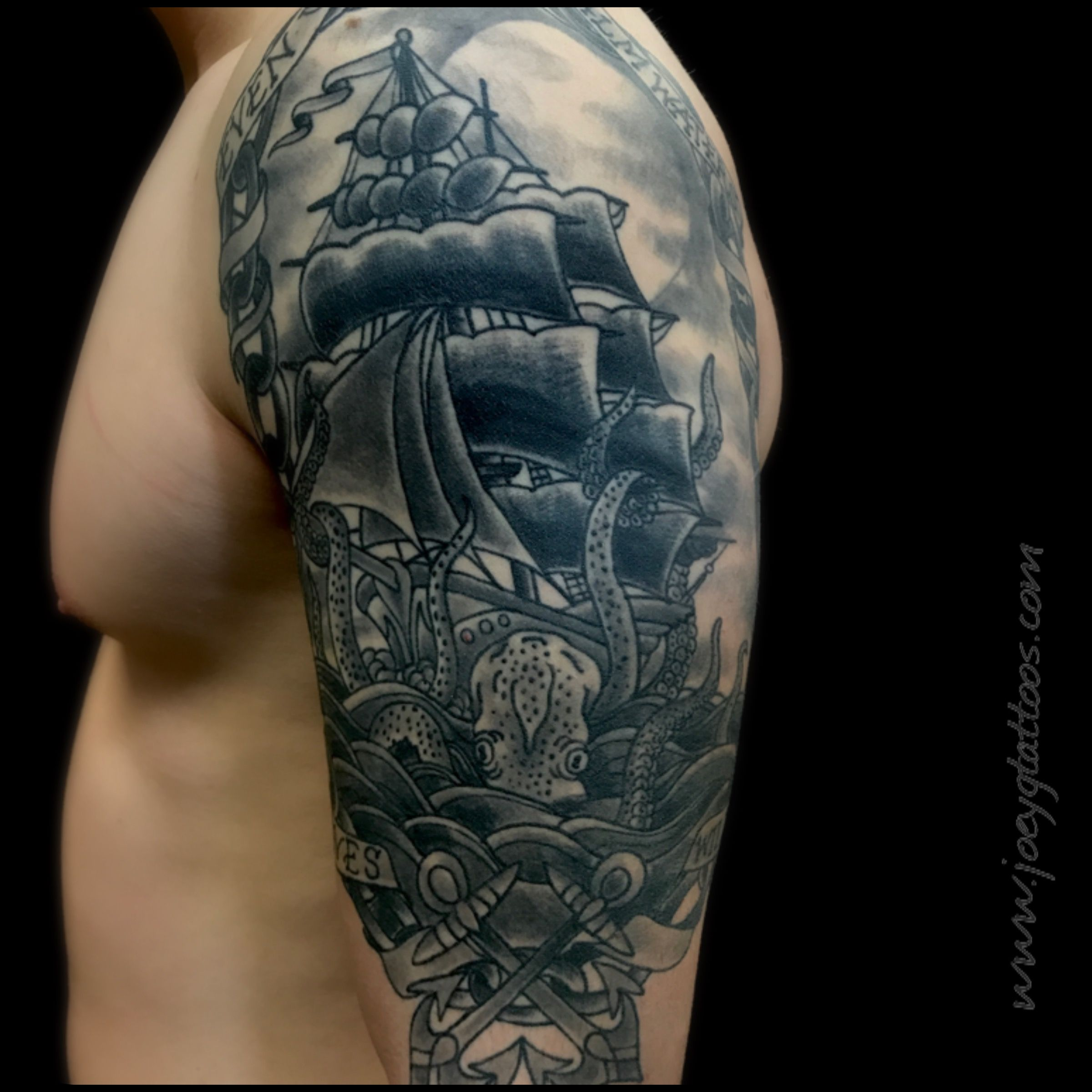 Black And Gray Tattoo Sleeve Ideas Guys With Ink Ship With Octopus Tattoo Tattoosleve Tattooide Grey Tattoo Octopus Tattoo Sleeve Octopus Tattoo Design
