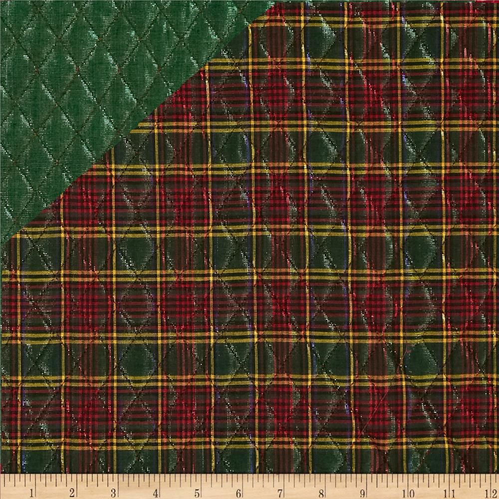 Holiday Blitz Double Sided Quilted Plaid Green from @fabricdotcom ... : pre quilted fabric patterns - Adamdwight.com