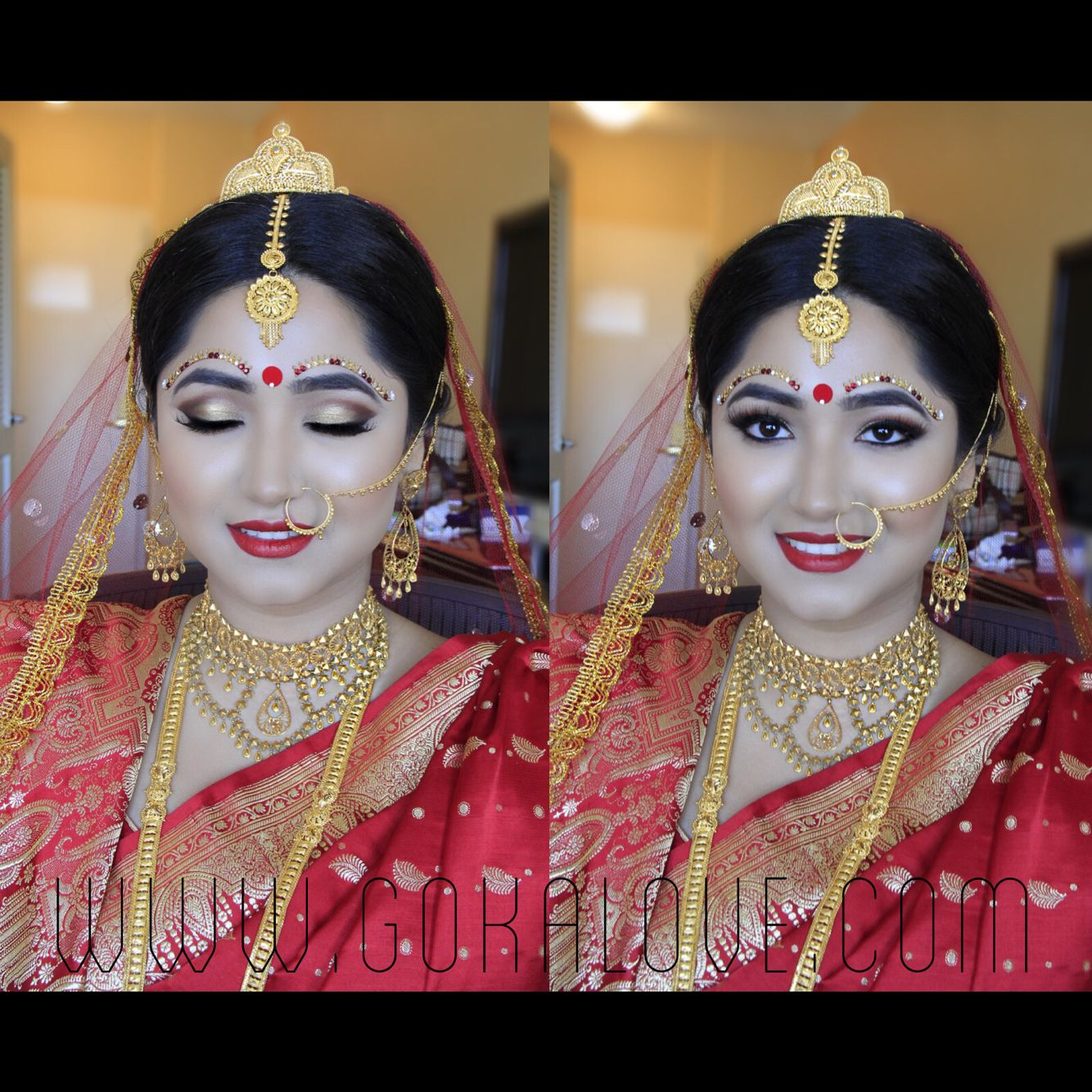 Bengali bridal gold jewellery - Bengali Bride S Makeup And Hair Indian Wedding Makeup Artist Hairstylist