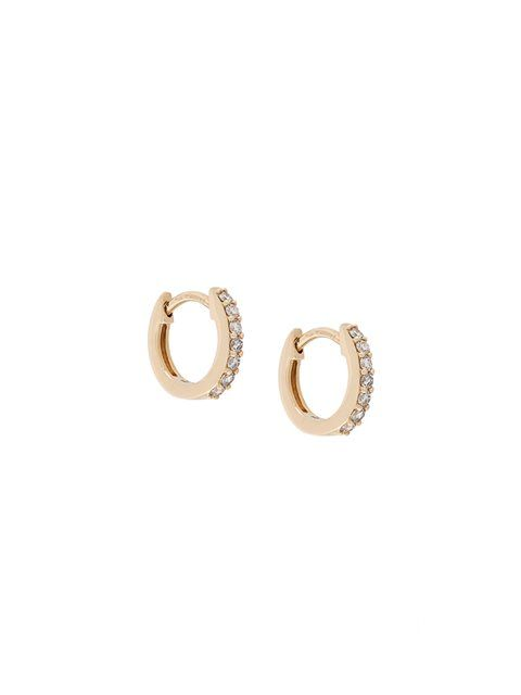 14kt gold Mini Halo diamond hoop earrings - Metallic Astley Clarke 1LimXl