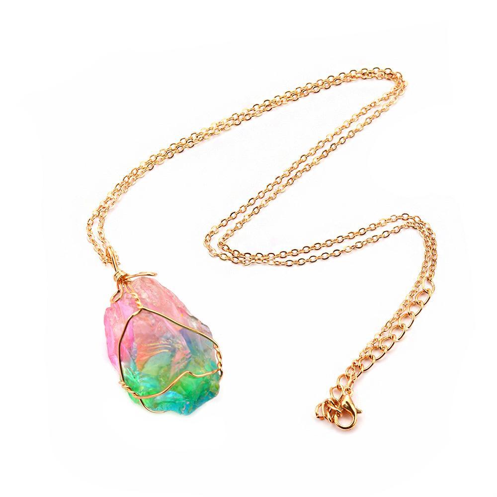 Rainbow Stone Crystal Gemstone Sweater Chain Necklace Quartz Pendant Jewelry