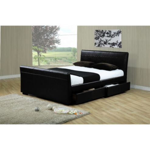 Four Drawer Sleigh Style Black Faux Leather Bed Frame King