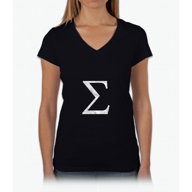 Sigma-marble Womens V-Neck T-Shirt