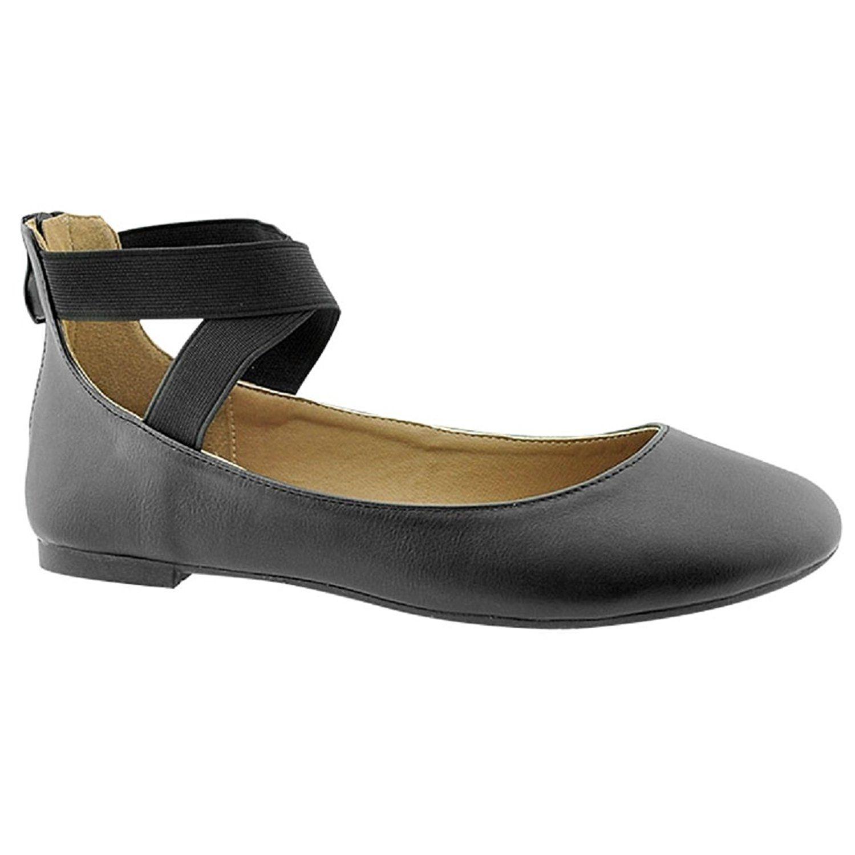 d912dc055a577 Amazon.com | Women's Criss Cross Comfort Elastic Ankle Strap Round ...