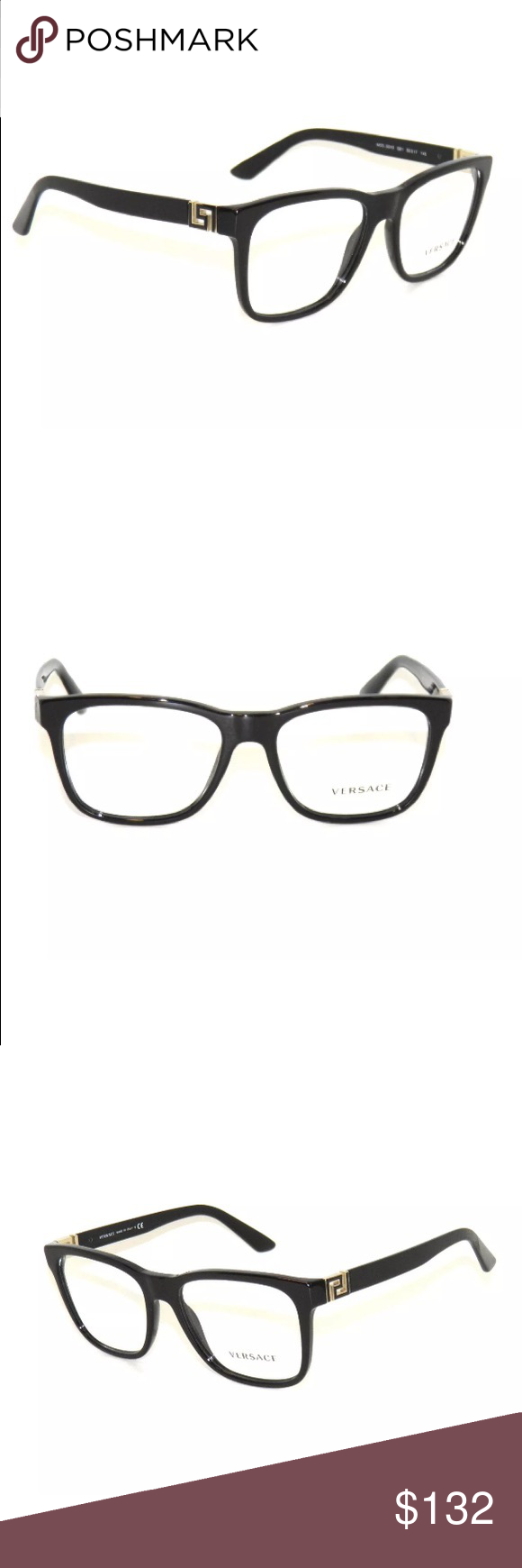 1e7a9897525 Versace Eyeglasses 3243 Black Frame New with clear lens Comes with Versace  case Authentic Versace Accessories Glasses