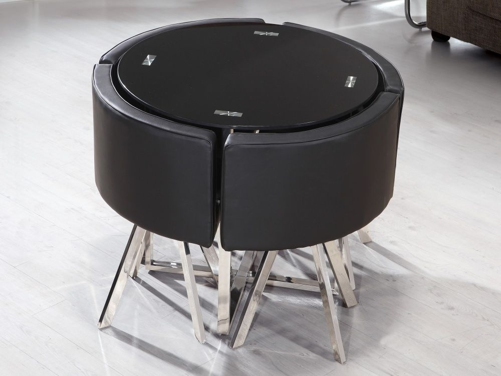 Modern Space Saving Dining Table With Round Black Wooden Material Feat Stainless Steel Leg Com Dining Table Chairs Space Saving Dining Table Glass Dining Table