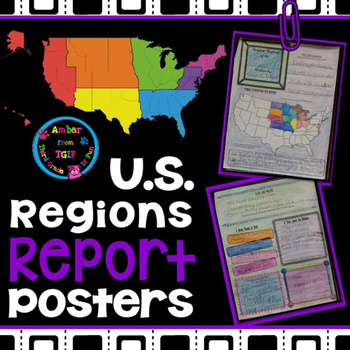 U.S. Region Report (Poster) Template for Intermediate Grades ... on us regions map worksheet, us regions map printable, us regions map color,