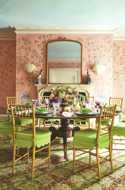 Pink hand painted walls, patterned carpet, green scalloped chair cushions - Mario Buatta