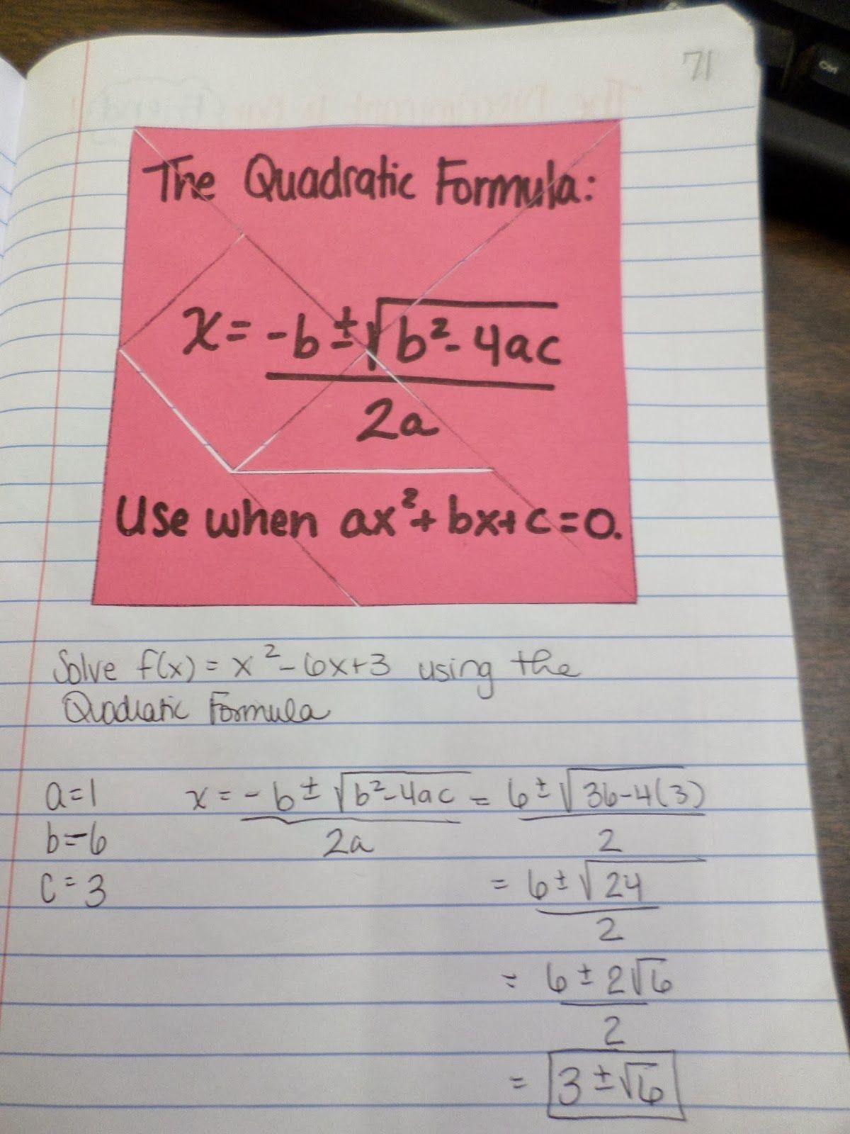5 New Algebra 2 Quadratic Formula In With Images