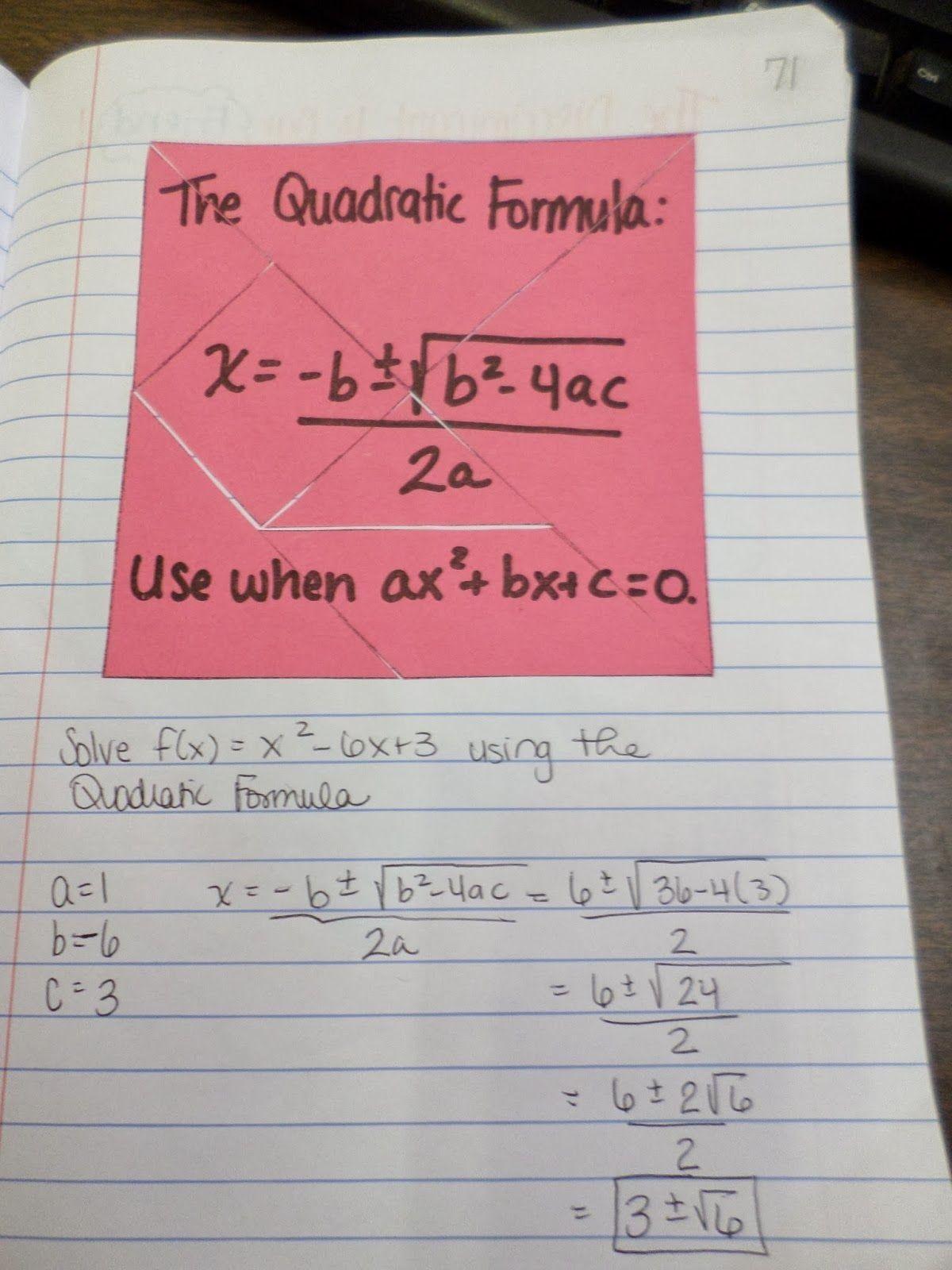 5 New Algebra 2 Quadratic Formula In With Images