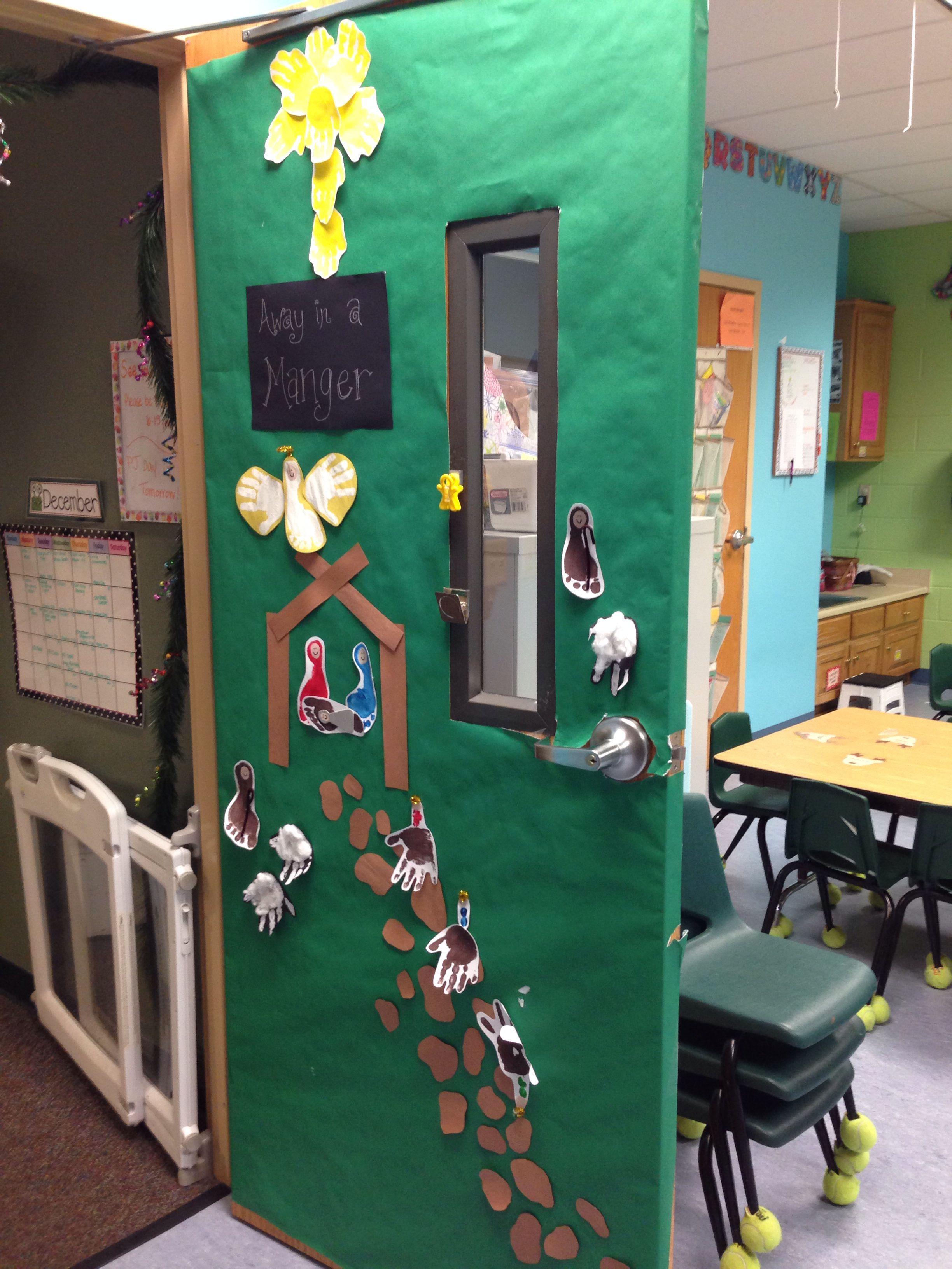 Nativity Door made with handprints and footprints- December Door ...