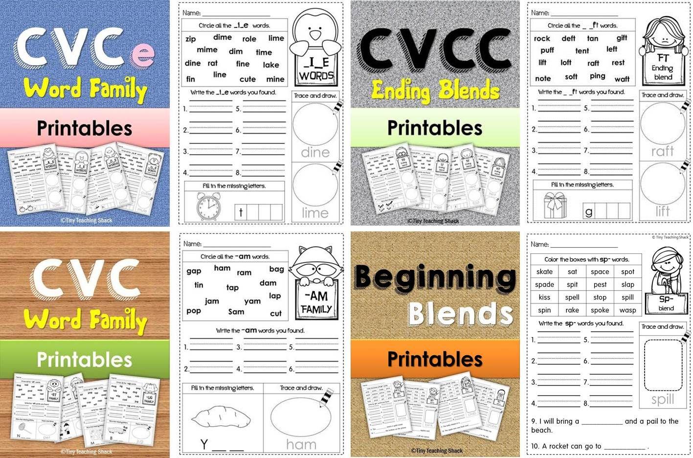 Phonics Worksheets Cvc Cvce Cvcc Ending Blend Beginning Blend