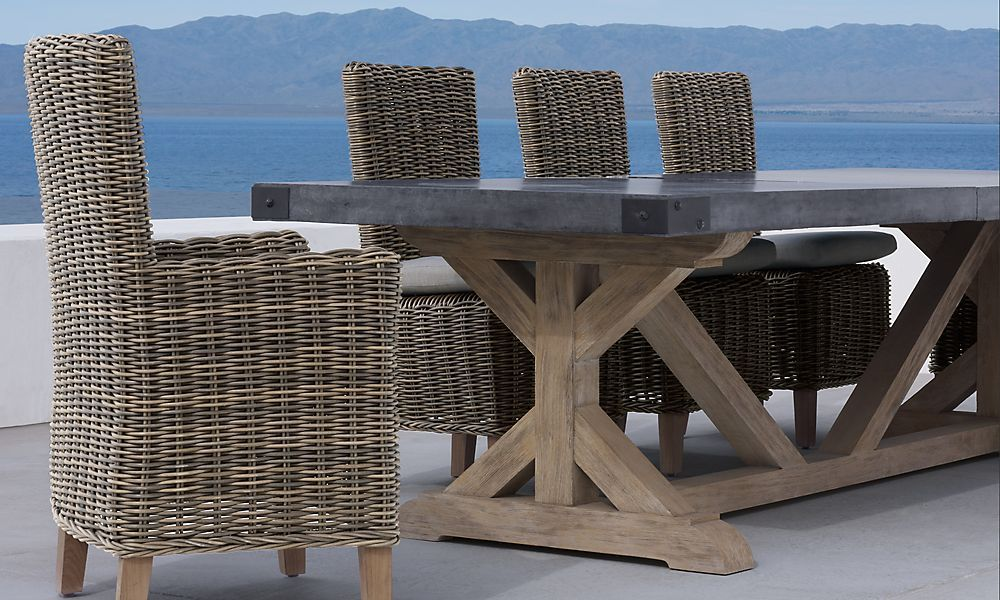 Majorca Chairs And Concrete/Teak Table At Restoration Hardware