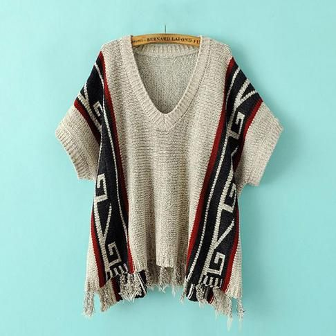 BOHO CHIC FALL 2014 | 2014 New Style Fall/Winter Boho Pattern Loose Kintting Sweater with ...